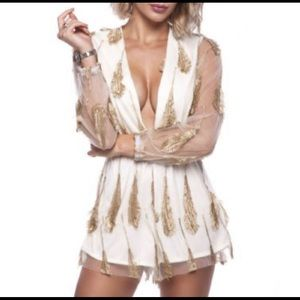 Pants - White feather romper